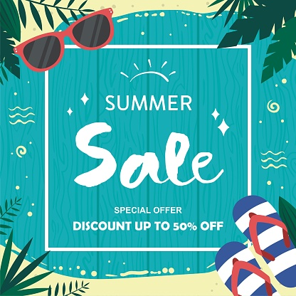 Palm leaf. Summer sale up to 50 per cent off. Web banner or poster for e-commerce, on-line cosmetics shop, fashion & beauty shop, store.