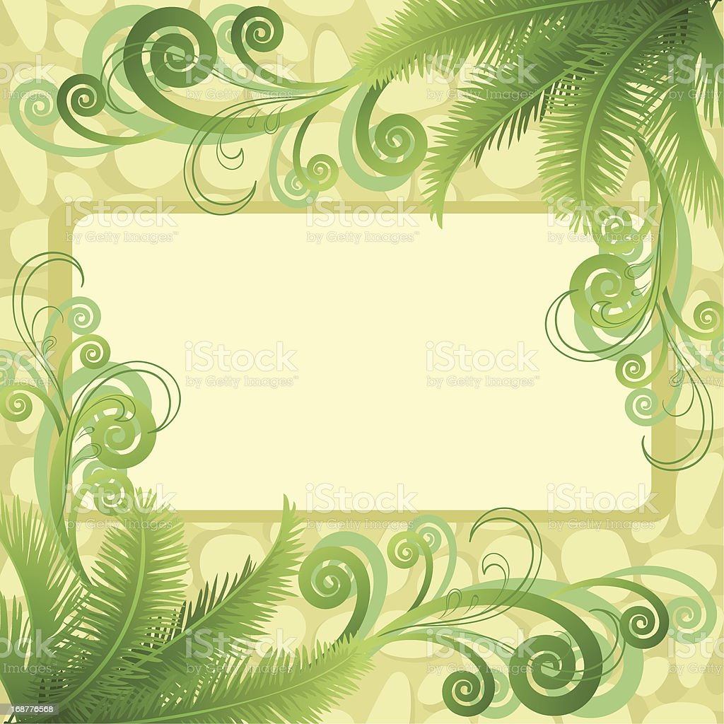 Palm leaves and abstract pattern royalty-free stock vector art