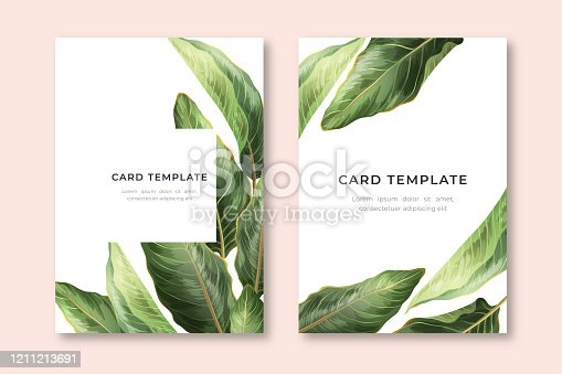 istock Palm Leaves Card template 1211213691