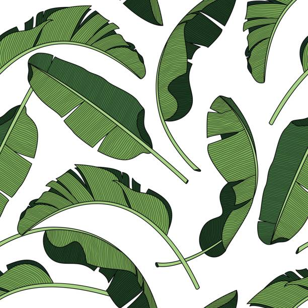 Palm leaves, dense jungle. Tropical background Seamless vector pattern. vector art illustration
