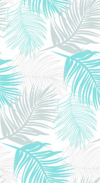bildbanksillustrationer, clip art samt tecknat material och ikoner med palmblad linje ritning blå - sömlösmönster. - summer sweden
