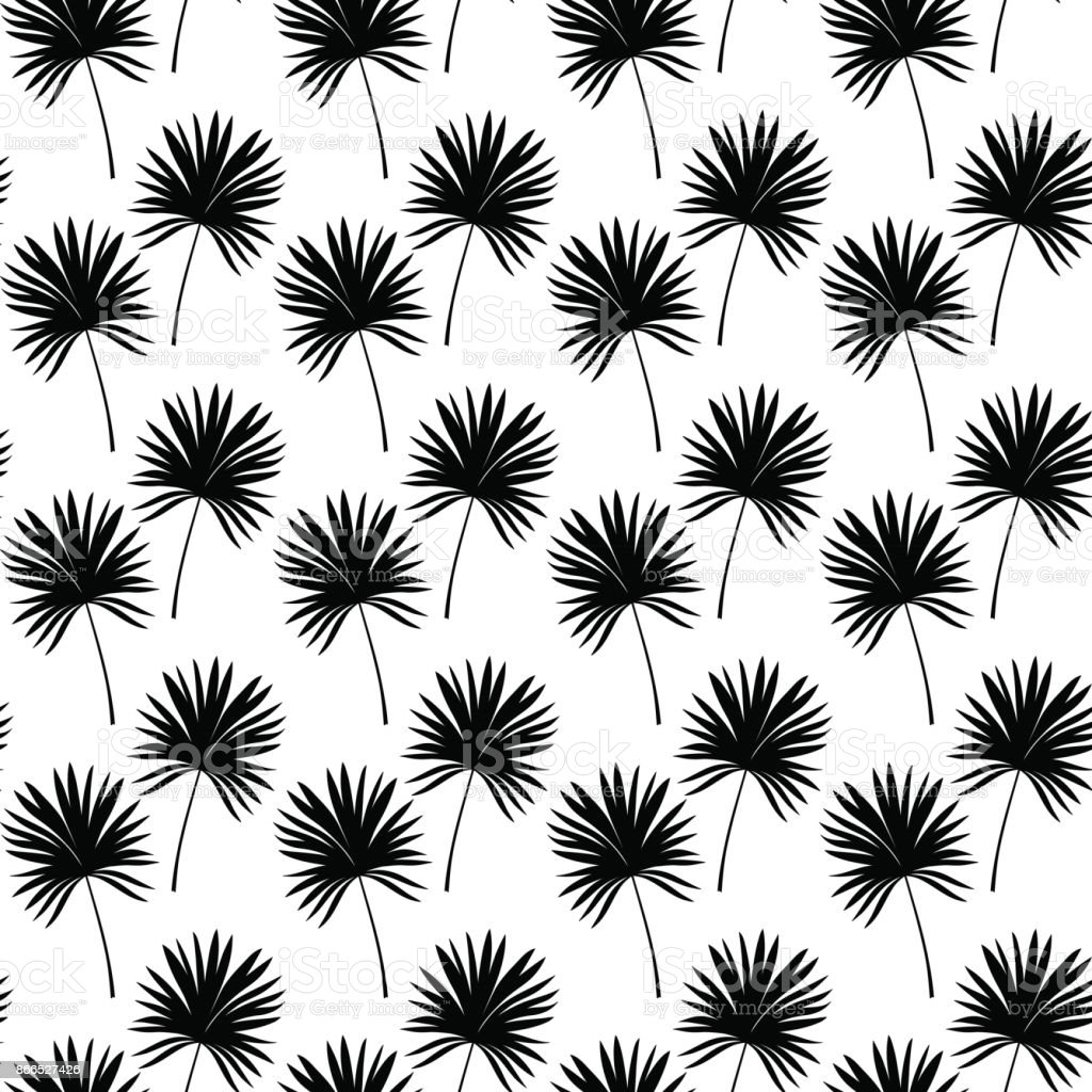 Palm Leaves Seamless Pattern In Black And White Tropical Background With Leaf Silhouette