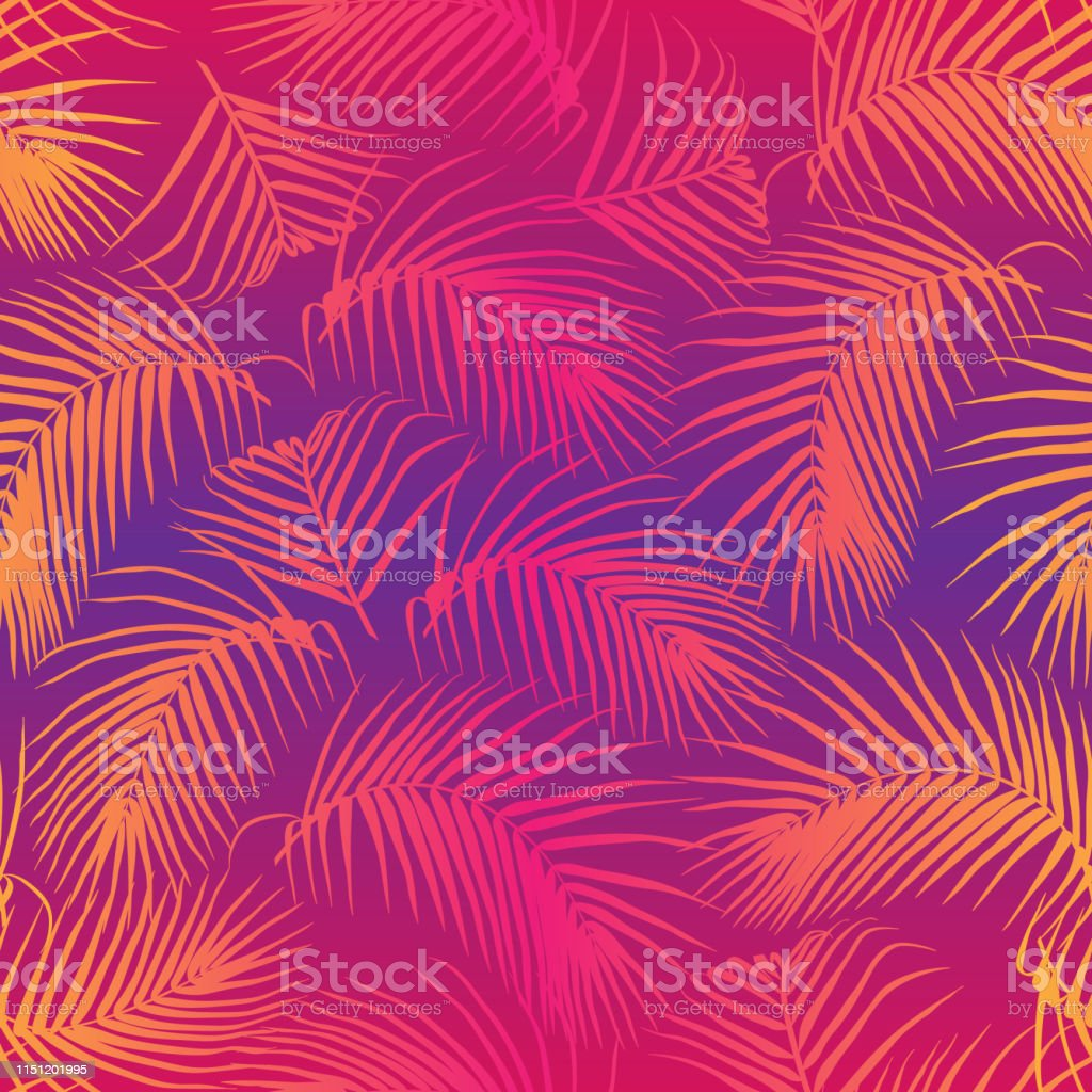 Palm Leaves Seamless Pattern Neon Gradient Background