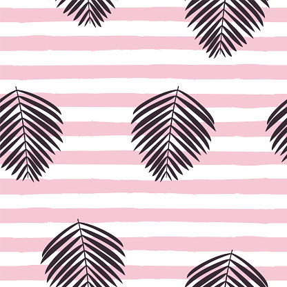 Palm leaves Vector seamless pattern