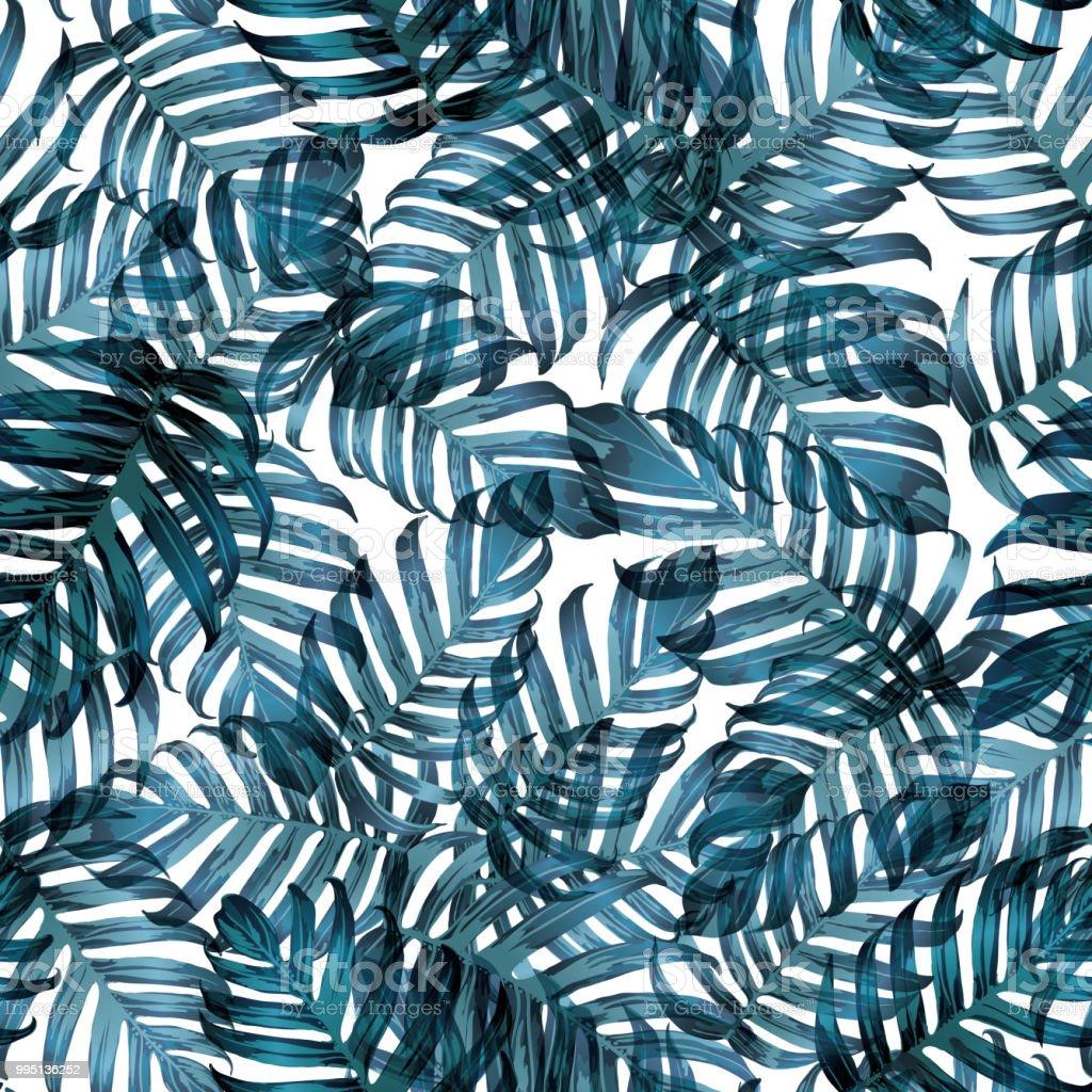 d1f128db1b Palma Monstera exótico de patrones sin fisuras. ilustración de palma  monstera exótico de patrones sin
