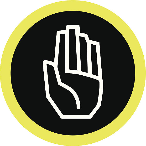 stockillustraties, clipart, cartoons en iconen met palm of a hand - swearing