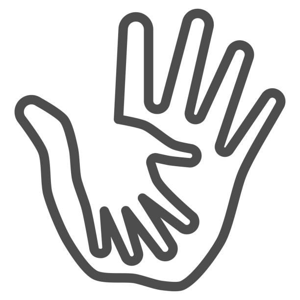 大人のラインアイコンで子供の手のひら、子供の保護コンセプト、白い背景に手のサインを助ける、親やボランティアによる子供の保護アイコンアウトラインスタイル。ベクターグラフィッ� - シングルマザー点のイラスト素材/クリップアート素材/マンガ素材/アイコン素材
