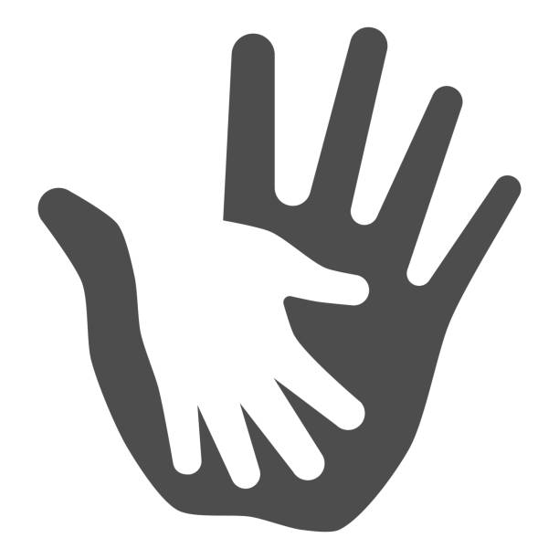 Palm of child in adult solid icon, kids protection concept, helping hand sign on white background, child protection by parents or volunteers icon in glyph style. Vector graphics. Palm of child in adult solid icon, kids protection concept, helping hand sign on white background, child protection by parents or volunteers icon in glyph style. Vector graphics human limb stock illustrations