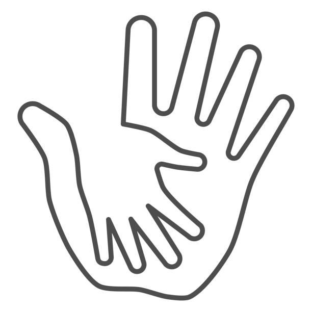大人の細い線のアイコンで子供の手のひら、子供の保護の概念、白い背景に手のサインを助ける、親やボランティアによる子供の保護アイコンアウトラインスタイル。ベクターグラフィック� - シングルマザー点のイラスト素材/クリップアート素材/マンガ素材/アイコン素材