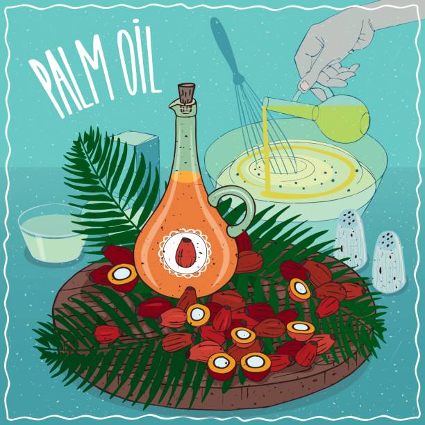 ilustrações de stock, clip art, desenhos animados e ícones de palm oil used for cooking - palm oil bottles