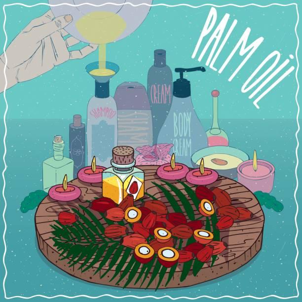 ilustrações de stock, clip art, desenhos animados e ícones de palm oil used for cosmetics making - palm oil bottles