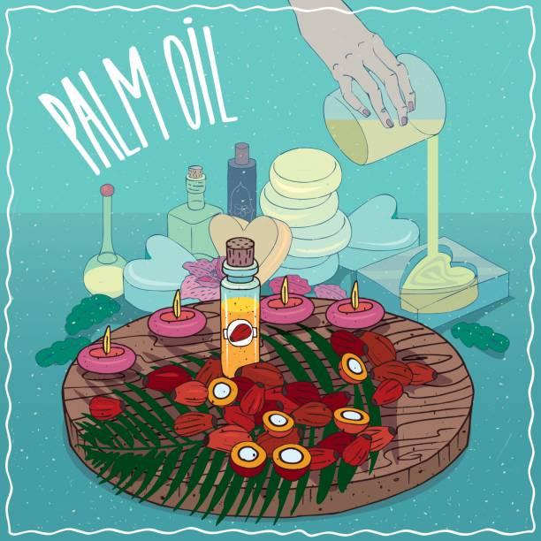 ilustrações de stock, clip art, desenhos animados e ícones de palm oil used for soap making - palm oil bottles