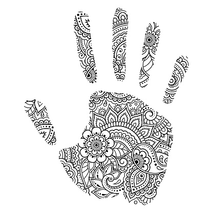 Palm print made of flowers in mehndi style. Hand with Oriental pattern. Coloring book page. Outline hand-draw vector illustration.
