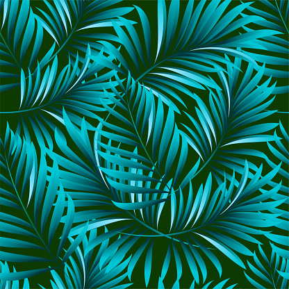 Palm Seamless Pattern From Tropical Plant Leaves Jungle Vector Wallpaper Background Stock Illustration Download Image Now