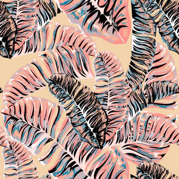 Palm. Nahtloses Muster aus tropischen Anlage verlässt. Dschungel. Vektor Wallpaper, Hintergrund. – Vektorgrafik
