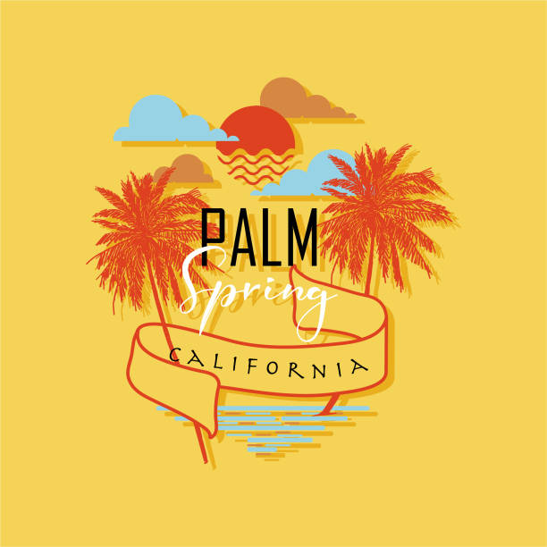 palm spring in california beach text and hand drawn palm trees with sunny sky vector illustrations. design for t-shirt ,fashion, fabric, web, and all prints - spring fashion stock illustrations, clip art, cartoons, & icons