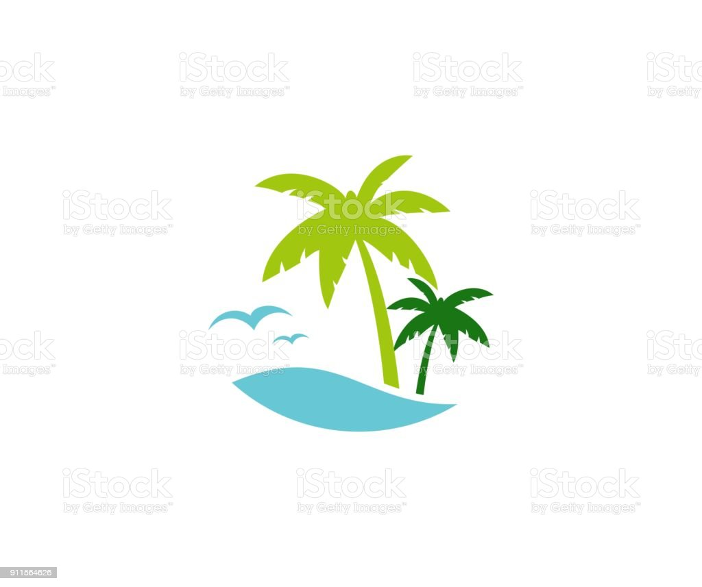 Palm summer icon vector art illustration