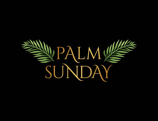palm sunday christian holiday theme illustration - palm sunday stock illustrations, clip art, cartoons, & icons