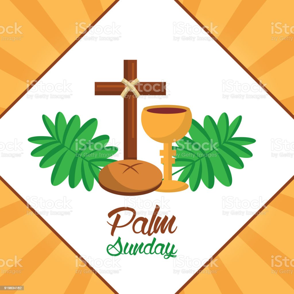 palm sunday cross bread cup frond poster stock vector art more rh istockphoto com Palm Sunday Bulletin Covers Palm Sunday Worship