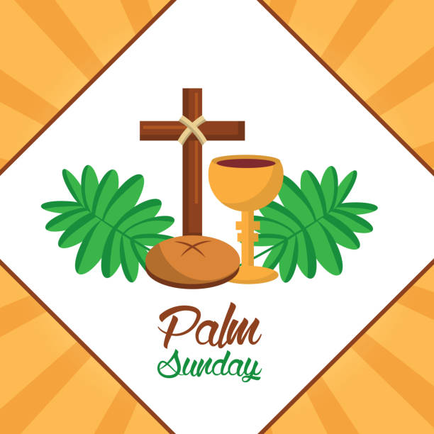 palm sunday cross bread cup frond poster palm sunday cross bread cup frond poster vector illustration lent stock illustrations