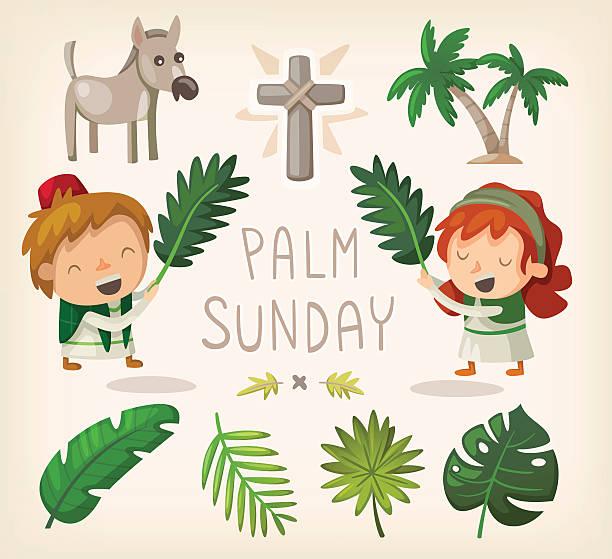 palm sunday design elements - palm sunday stock illustrations, clip art, cartoons, & icons
