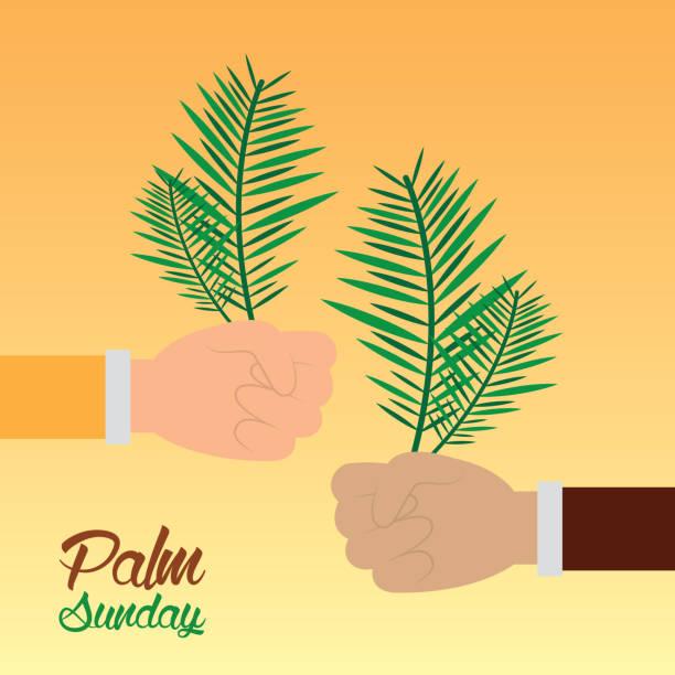 palm sunday hands holding branch celebration religious - palm sunday stock illustrations, clip art, cartoons, & icons