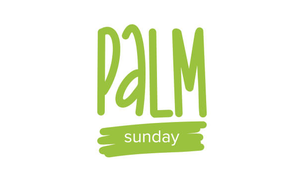 palm sunday handwritten lettering. christian moveable feast that falls on the sunday before easter. poster, postcard, greeting card, invitation, banner or background. vector illustration - palm sunday stock illustrations, clip art, cartoons, & icons