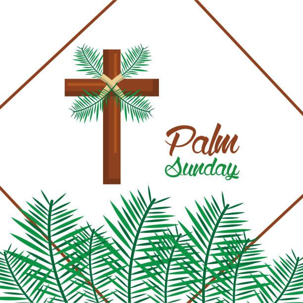 palm sunday happy easter celebration - palm sunday stock illustrations, clip art, cartoons, & icons