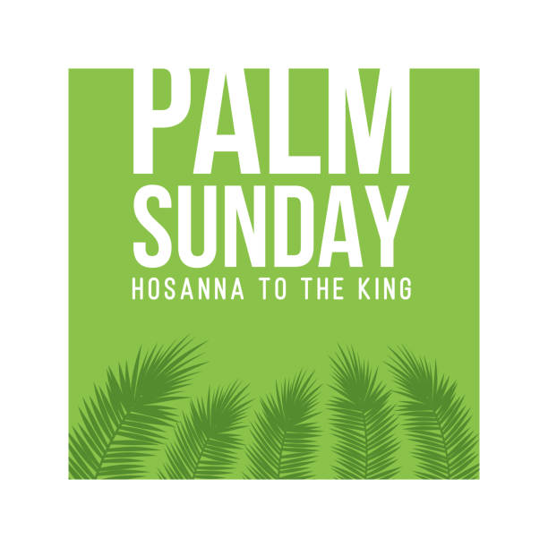 palm sunday holiday card, poster with palm leaves border, frame. vector background - palm sunday stock illustrations, clip art, cartoons, & icons