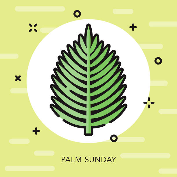 palm sunday open outline easter icon - palm sunday stock illustrations, clip art, cartoons, & icons