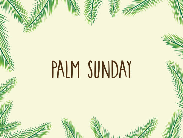 palm sunday poster with leafs. handwritten text. vector illustration. - palm sunday stock illustrations, clip art, cartoons, & icons