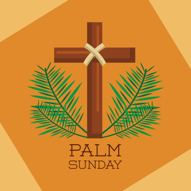 palm sunday sacred cross branches decoration palm sunday sacred cross branches decoration vector illustration lent stock illustrations