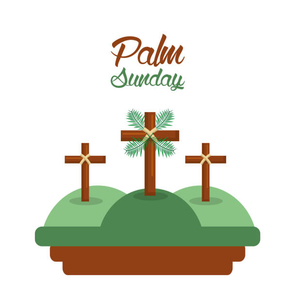 palm sunday three crosses in the hills card - palm sunday stock illustrations, clip art, cartoons, & icons