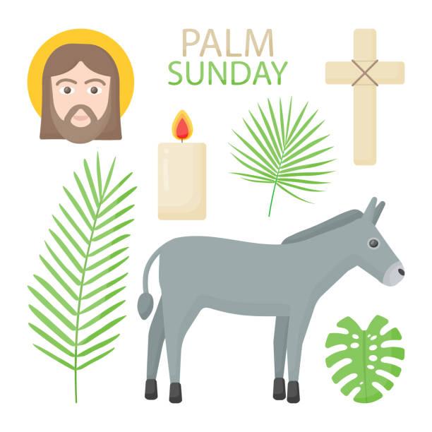 palm sunday vector flat icon set - palm sunday stock illustrations, clip art, cartoons, & icons