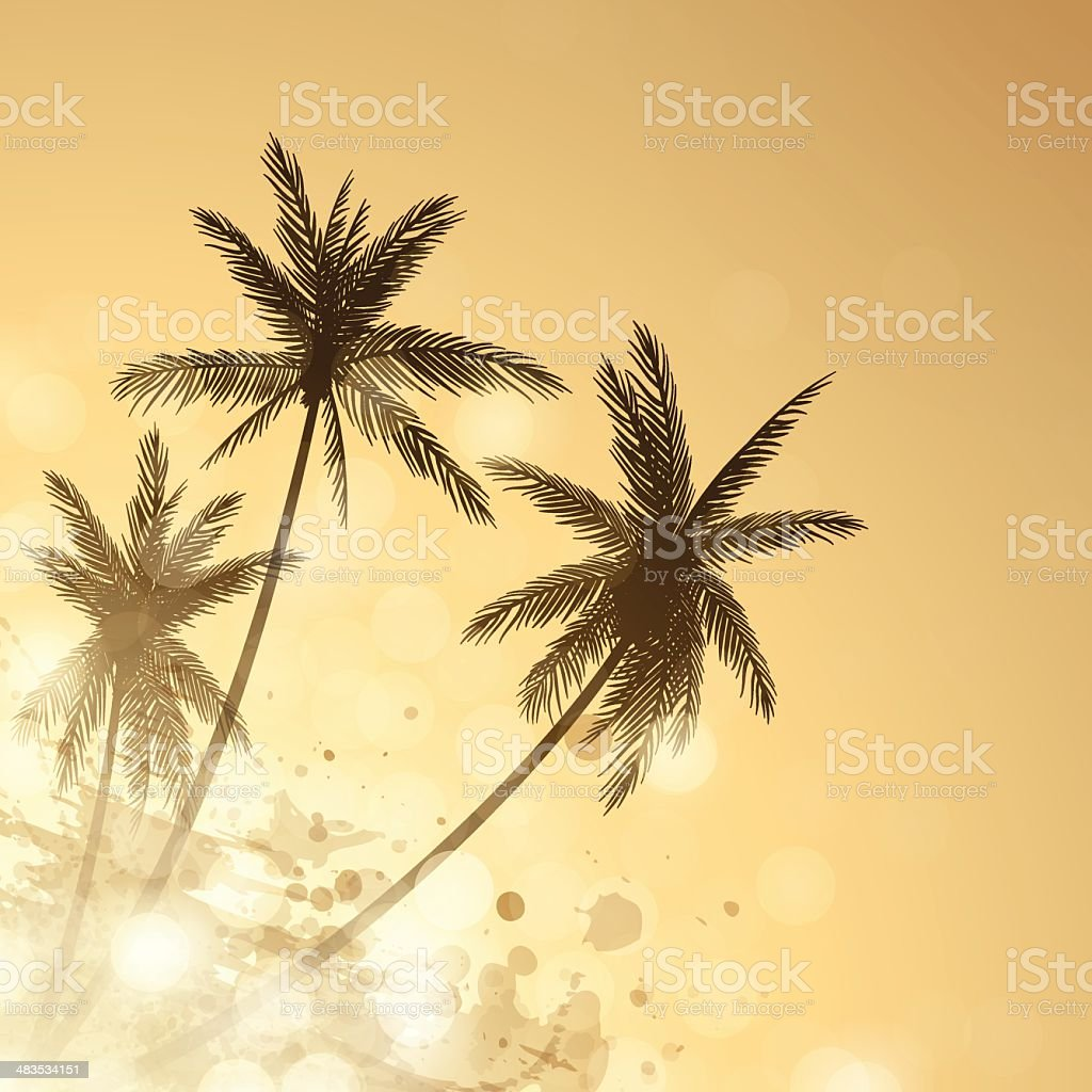 Palm Sunset Background royalty-free stock vector art