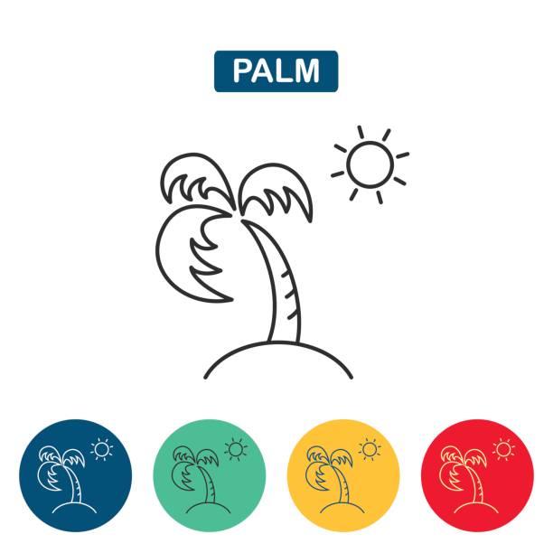 ilustrações de stock, clip art, desenhos animados e ícones de palm tree and sun icon - oleo palma
