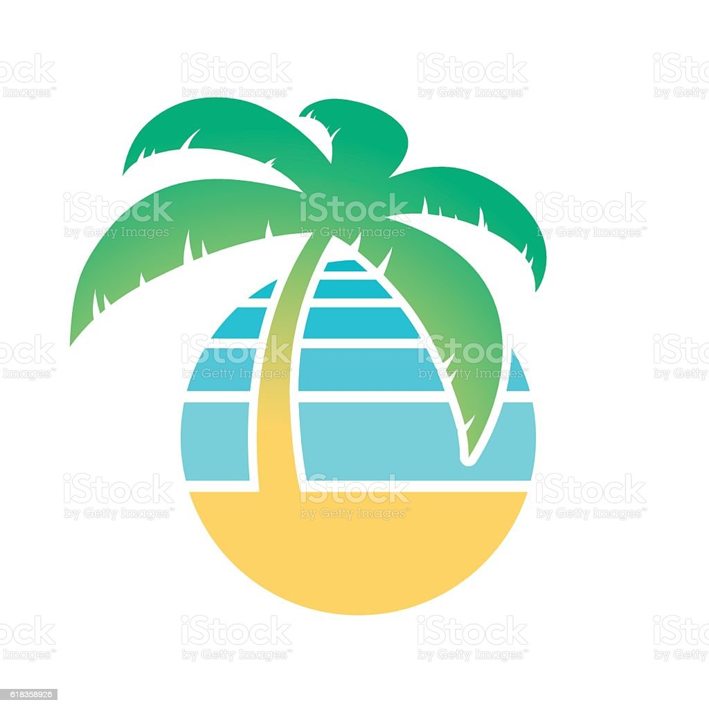 Palm tree and tropical beach icon vector art illustration