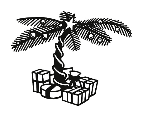 Palm Tree and Wrapped Gifts
