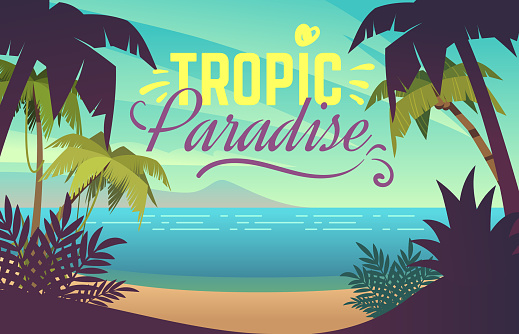 Palm tree beach. Ocean sunset with sand coast beach waves and palm trees, maldives tropical background. Summer vacation vector poster