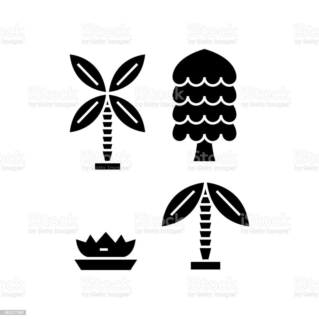 Palm Tree Black Icon Concept Palm Tree Vector Sign Symbol