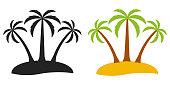 Palm tree on a desert island, vector logo for tourism three palm trees on an island, flat comic cartoon style