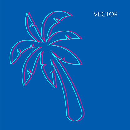 Palm tree flat color vector background. Glith palmtree on blue backdrop. Hawaiin vegetation, beach foliage. Tropical summer vacation social media post mock up. Exotic resort web banner template
