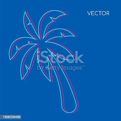 istock Palm tree flat color vector background. Glith palmtree on blue backdrop. Hawaiin vegetation, beach foliage. Tropical summer vacation social media post mock up. Exotic resort web banner template 1306205435