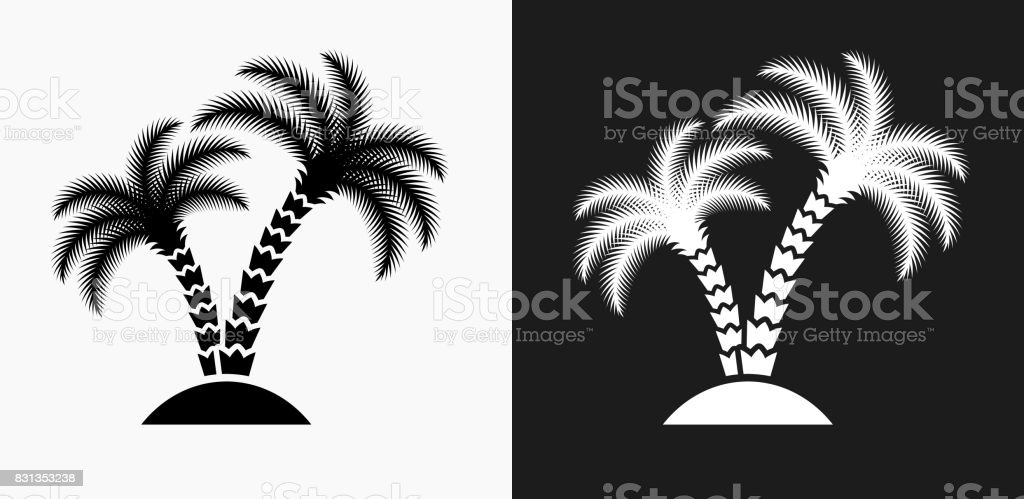 Ilustración de Icono De árbol De Palma En Blanco Y Negro Vector ...