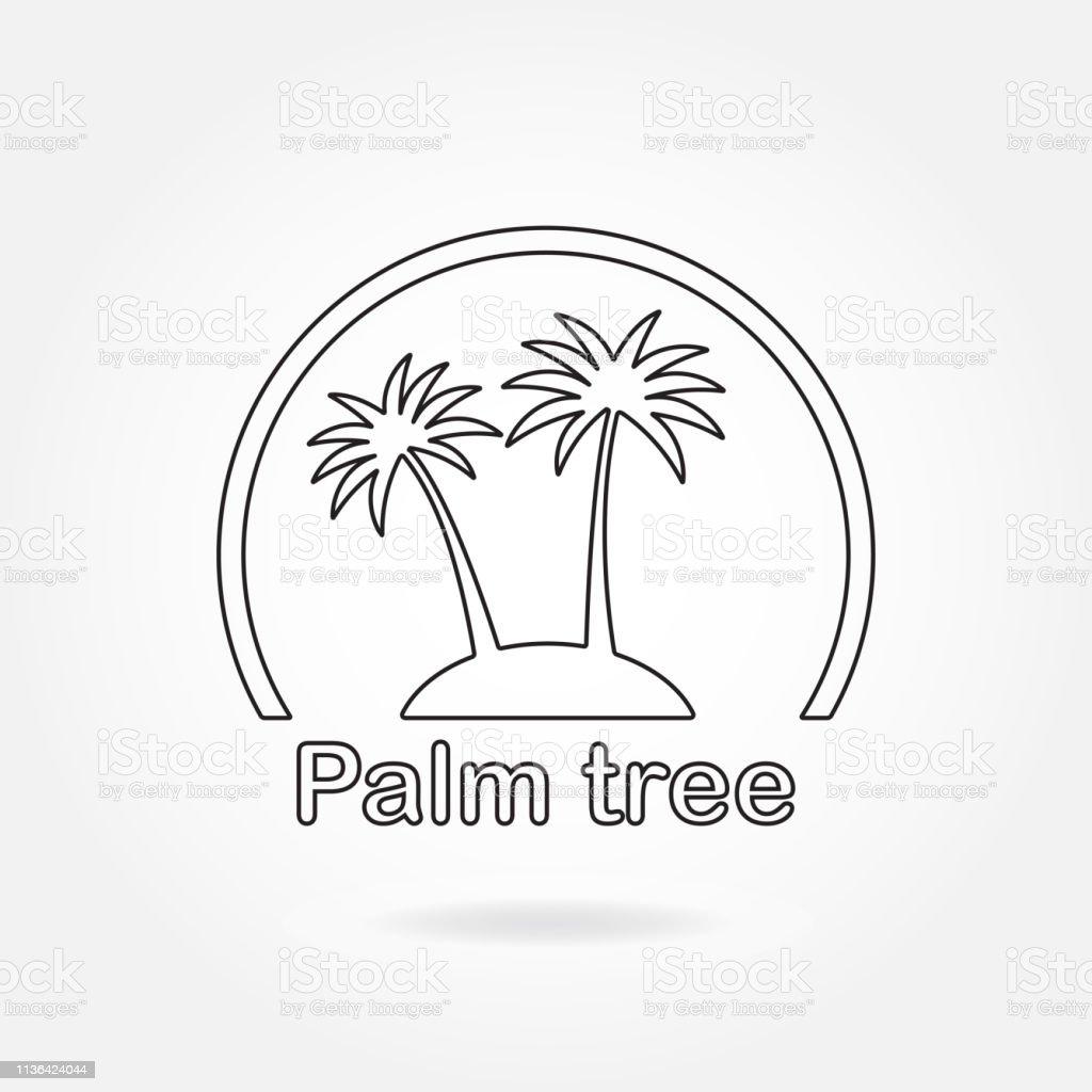 Palmbaum-Symbol oder Schild. Skizzsymbol zweier schwarzer Palmensilhouette auf der Insel. Vector Illustration. – Vektorgrafik