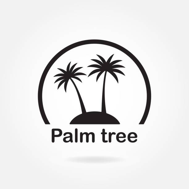 palmbaum-symbol oder schild. symbol von zwei schwarzen palmen silhouette auf der insel. vector illustration. - stammes tattoos stock-grafiken, -clipart, -cartoons und -symbole