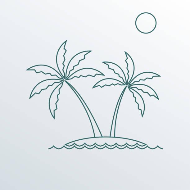 palmbaum-symbol. skizzieren sie das symbol zweier palmen auf der insel. vector illustration. - stammes tattoos stock-grafiken, -clipart, -cartoons und -symbole