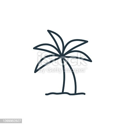 istock palm tree icon vector from travel concept. Thin line illustration of palm tree editable stroke. palm tree linear sign for use on web and mobile apps, logo, print media.. 1269952527