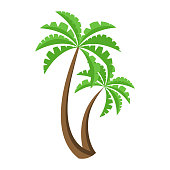 Palm tree icon. Symbol of vacation and beach holidays. Vector illustration flat design. Isolated on white background.