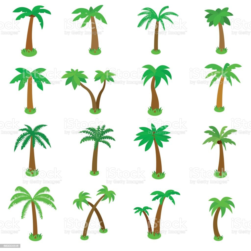 Palm Tree Icons Set Isometric 3d Style Stock Illustration - Download